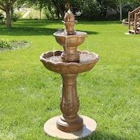 Sunnydaze Outdoor Garden Blooming Flower Water Fountain - 2-Tier - 38-Inch