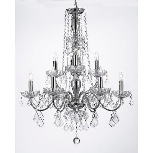 Elegant Crystal Chandelier Lighting 9 Light Fixture