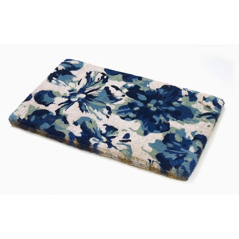 """Blue Floral Doormat - Thick Handwoven Durable - 18"""" x 30"""""""