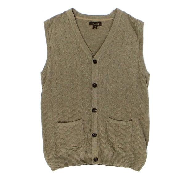 Tasso Elba NEW Brown Mens Size 2XL Heather Button-Front Sweater ...