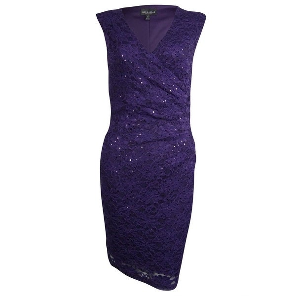 Connected Women's Surplice Sequined Lace Dress