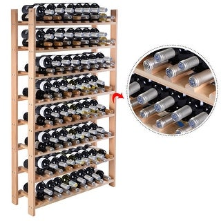 Costway Wood Wine Rack Stackable Storage Storage Display Shelves (120-Bottle) - natural pinewood color