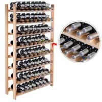 Costway Wood Wine Rack Stackable Storage Storage Display Shelves (120-Bottle)