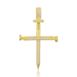 Nail Cross Charm Large 68mm Tall Gold-Plated Silver With CZ By MidwestJewellery