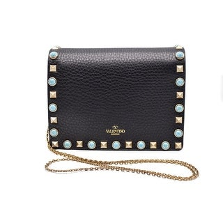 Valentino Rockstud Turquoise Stone Black Leather Crossbody Clutch