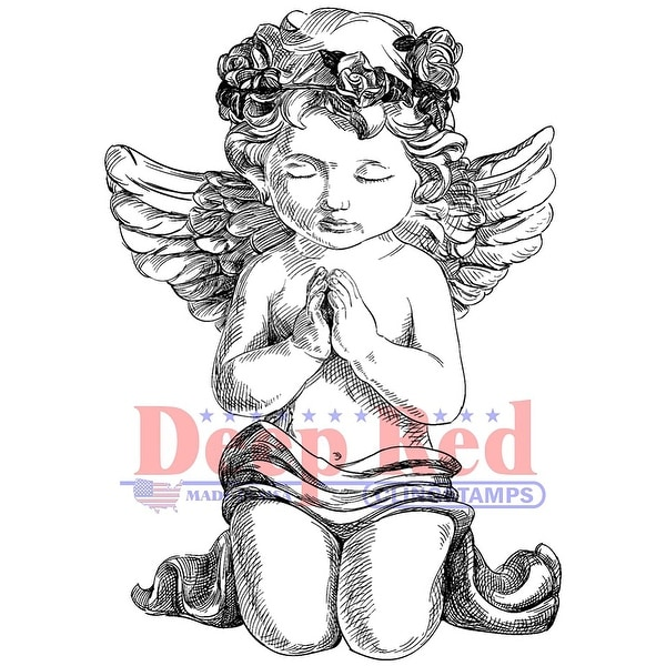 "Deep Red Cling Stamp 3""X5""-Guardian Angel"
