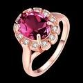 Rose Gold Rose Quartz CZ Stone Ring - Thumbnail 1
