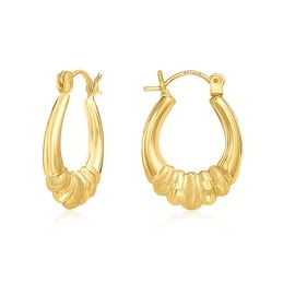 MCS JEWELRY INC 10 KARAT YELLOW GOLD SHRIMP HOOP EARRINGS WITH DESIGN 22MM
