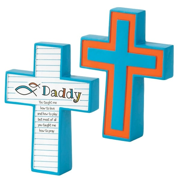 """Daddy You Taught Me Blue Tabletop Resin Cross 5"""" x 4"""" - other-frame-size"""