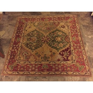 Safavieh Handmade Heritage Traditional Kerman Burgundy Wool Rug - 4' x 4' Square