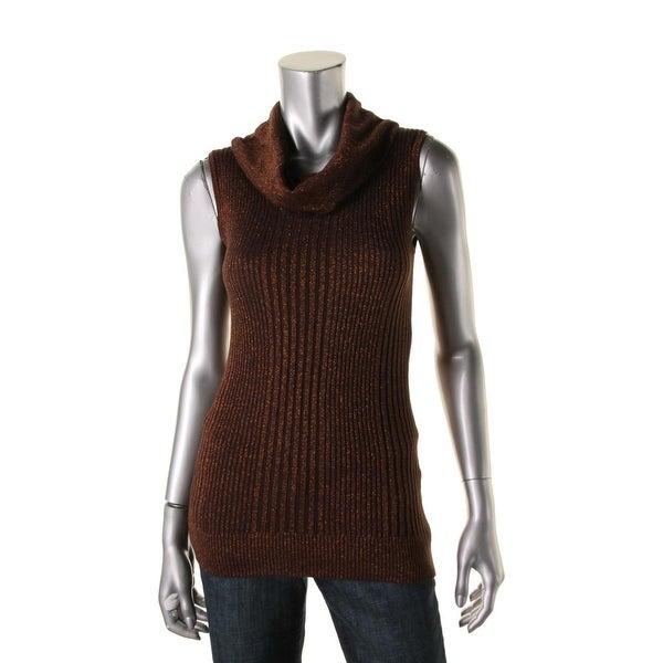 Joseph A Womens Pullover Sweater Metallic Sleeveless
