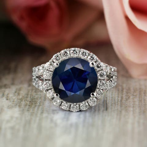 Auriya 18k Gold 4ctw Blue Sapphire Halo Diamond Engagement Ring 2ct TDW