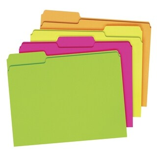 Pendaflex Glow File Folders, Letter Size, 3 Tab, Assorted Colors, Pack of 24