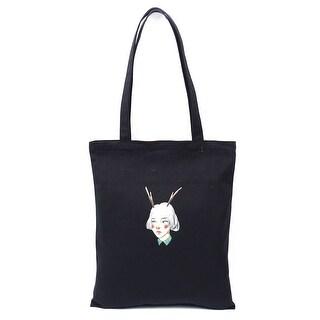 Travel Canvas Girl Print Zipper Closure Book Tote Bag Shopping Handbag Black