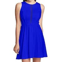 Guess Blue Women's Size 6 Mesh-Detail Fit & Flare A-Line Dress