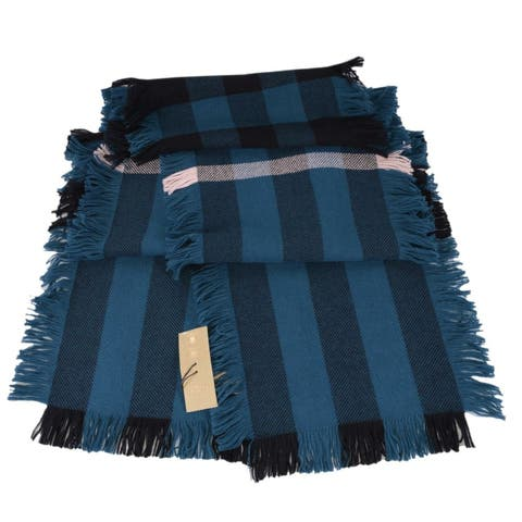 "Burberry Steel Blue Wool Half Mega Nova Check Fashion Fringe Scarf Muffler - 90"" x 10"""