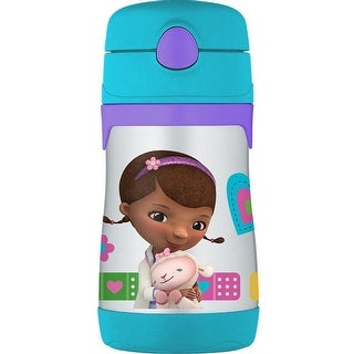 THERMOS Vacuum Insulated Stainless Steel 10 oz. Straw Bottle (Doc McStuffins)