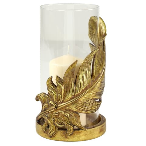 """Large Metallic Gold Feather Candle Holder with Hurricane Glass 6"""" x 10"""" - 6 x 6 x 10"""