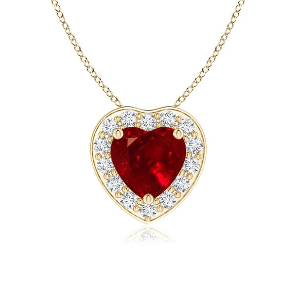 Angara 5mm Prong-Set Diamond Halo Heart Shaped Ruby Pendant - Yellow