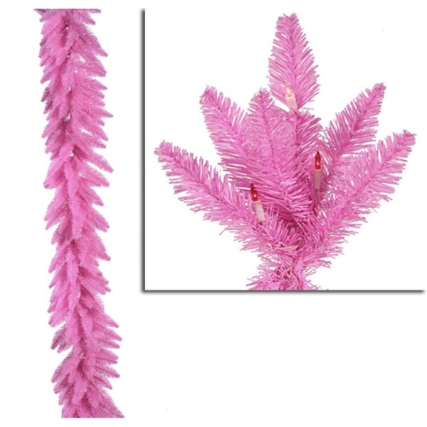 """9' x 14"""" Pre-Lit Pink Ashley Spruce Christmas Garland - Clear & Pink Lights"""