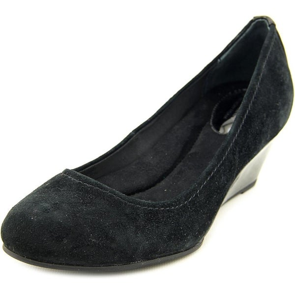 Giani Bernini Jileen Women Open Toe Suede Black Wedge Heel