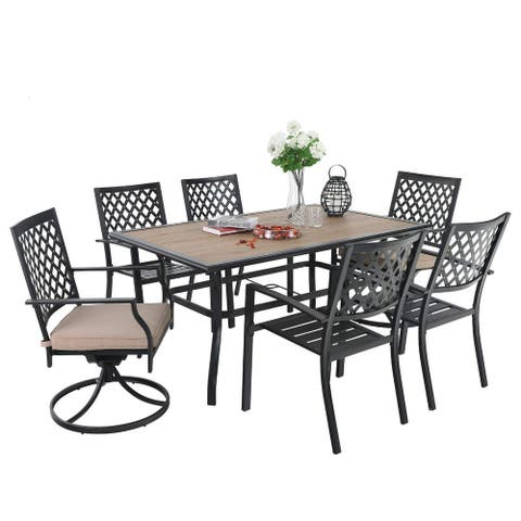 PHI VILLA Outdoor Patio Rectangular Dining Table Set with 4 x Dining Chairs, 2 x Swivel Chairs