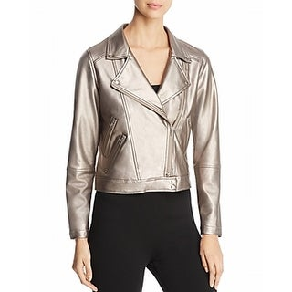 Lysse NEW Silver Women's Size Medium M Faux-Leather Motorcycle Jacket