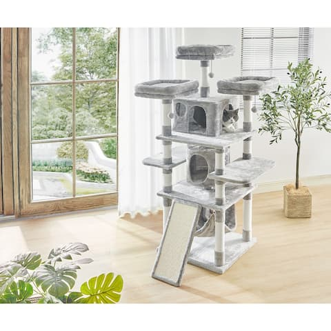 Large Multi-Level Cat Tower with Dangling Balls