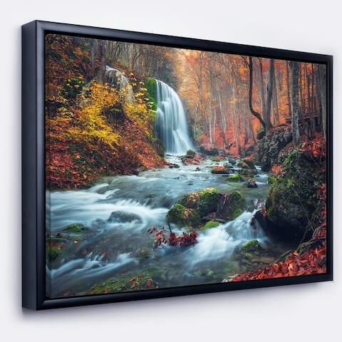Designart 'Autumn Mountain Waterfall Long View' Landscape Photography Framed Canvas Print