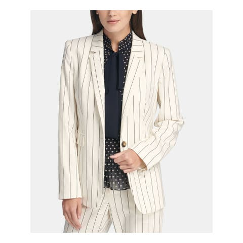 DKNY Womens White Pinstripe Blazer Wear to Work Jacket Size 14