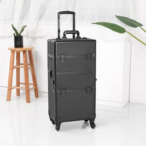 Aluminum Rolling Makeup Cosmetic Train Case Lockable Wheeled Box - Black