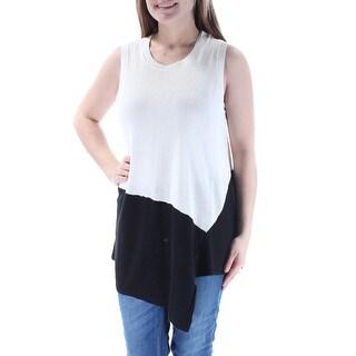 ANNE KLEIN $79 Womens New 1108 Ivory Sleeveless Jewel Neck Hi-Lo Sweater M B+B
