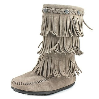 Minnetonka 2651S Youth Round Toe Suede Gray Mid Calf Boot
