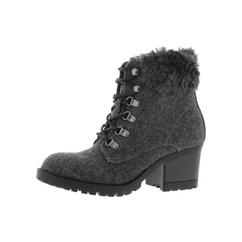 Cliffs by White Mountain Womens Trident Ankle Boots Faux Fur Lace Up