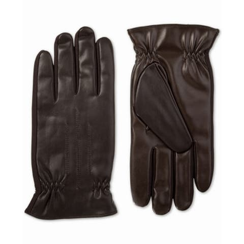 Isotoner Men's Brown Size Large L Touch Screen Solid Driving Gloves