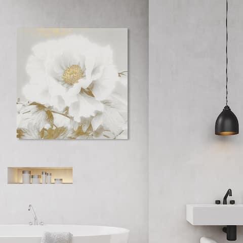 Wynwood Studio 'Kazumasa Antique II' Floral and Botanical Wall Art Canvas Print Florals - White, Gold