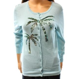 Charlotte NEW Blue Women's Medium M Embellished Cardigan Sweater
