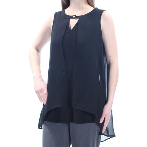 NY COLLECTION Womens Black Sleeveless V Neck Wear To Work Top Size: M