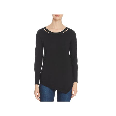 Love Scarlett Womens Pullover Sweater Lace-Up Back Asymmetric - Black