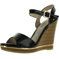 Kayleen Dayla-4 Womens Ankle Strap Metallic Stacked Heel Wedge Sandals - Black