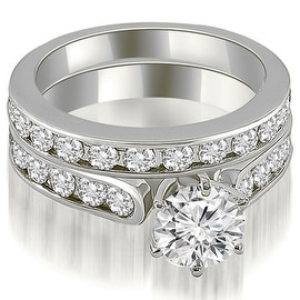 3.19 cttw. 14K White Gold Cathedral Round Cut Diamond Bridal Set