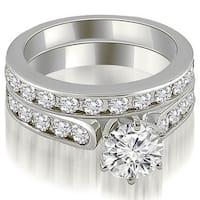 3.44 cttw. 14K White Gold Cathedral Round Cut Diamond Bridal Set