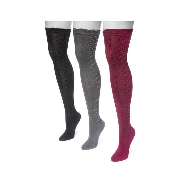 Muk Luks Socks Womens Lace Texture Over Knee 3 pack One Size - One size