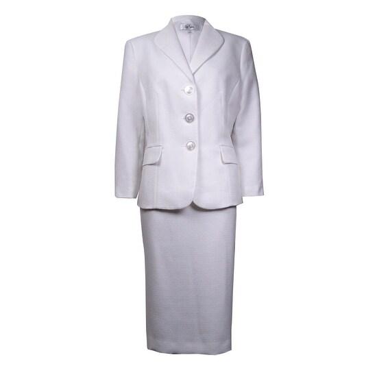 Le Suit Women's Nantucket Shawl Slub Woven Skirt Suit - Vanilla Ice