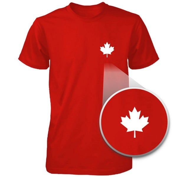 Shop Canada Flag Pocket Print Red Shirts Cute Mens Round Neck Tees