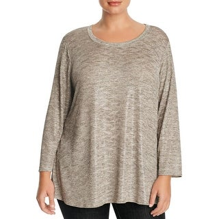 Nally & Millie Womens Plus Casual Top Metallic Stretch