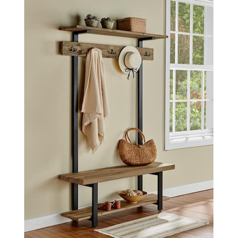 Carbon Loft Lawrence Entryway Hall Tree with Bench and Coat Hooks