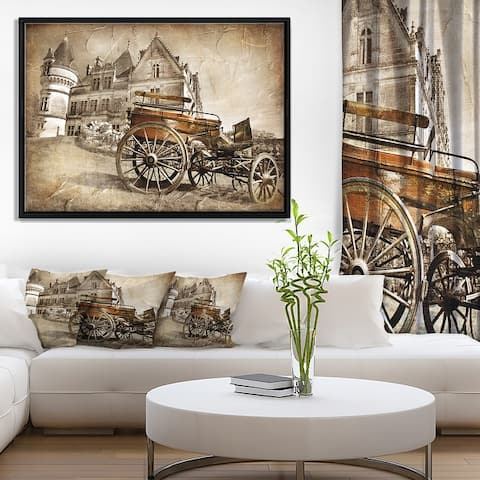 Designart 'Medieval Castle with Carriage' Contemporary Framed Canvas Art Print
