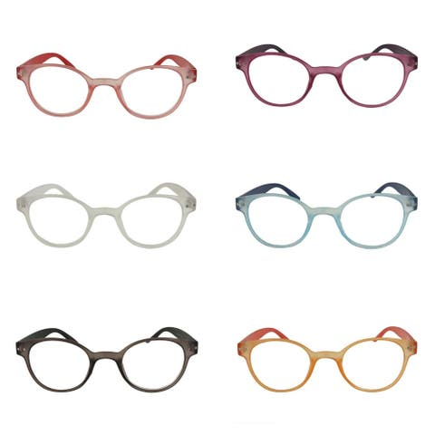 Unisex Rounded Colored Reading Glasses - 6 Pair Pack