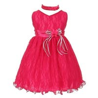 Baby Girls Fuchsia Lace Overlay Flower Sash Special Occasion Dress 3-24M